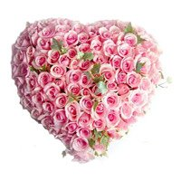 Valentine Roses Heart 100 Flowers to India