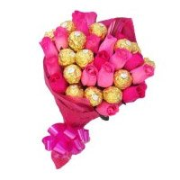 Order Diwali Flowers to India. Online Pink Roses 10 Flowers 16 Pcs Ferrero Rocher Bouquet. Diwali Gifts to India
