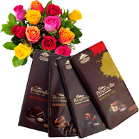 Online Diwali Gifts Delivery in India. Send 4 Cadbury Bournville Chocolates with 12 Mix Roses Bunch in India