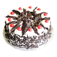 Send Rakhi with Cakes to India. 1 Kg Black Forest Cake From 5 Star Bakery