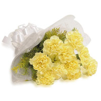 Buy Rakhi and Flowers in India. Yellow Carnation Bouquet 10 Flowers to India