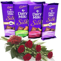 Send 4 Cadbury Dairy Milk Silk Chocolates With 6 Red Roses in India. Rakhi Gifts to India