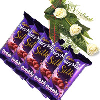 Send 5 Cadbury Silk Bubbly Chocolate With 3 White Roses. Rakhi Flowers and Gifts to India