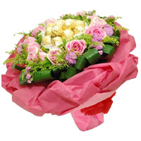 Diwali Chocolate Delivery in India take in 24 Pink Roses 24 Pcs Ferrero Rocher Bouquet