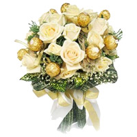 Order Diwali Gifts to India. Send 16 Pcs Ferrero Rocher Chocolates with 16 White Roses Bouquet India