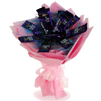 Order Dairy Milk Chocolate Bouquet and 12 Chocolates of Diwali Gifts Delivery in India
