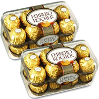 Online Delivery of Rakhi and 32 Pieces Ferrero Rocher Chocolates and Rakhi to India