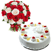 Deliver Online 1 Kg Pineapple Cake with Rakhi 24 Red White Roses Bouquet to India