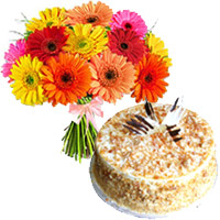 Online 1 Kg Butter Scotch Cake with Rakhi and 12 Mix Gerbera Bouquet to Delhi