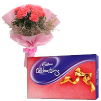 Send Cadbury Celebration Pack with 6 Pink Carnation Flowers to Bangalore Online on Rakhi