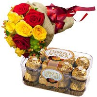 Diwali Gifts Delivery to India. Send 12 Red Yellow Roses Bunch 16 Pcs Ferrero Rocher chocolate in India
