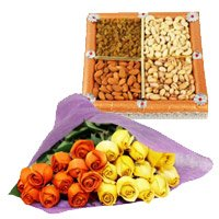 Diwali Gifts Delivery to India. Send 24 Orange Yellow Roses Bunch 1/2 Kg Dry Fruits