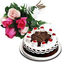 Send 6 Mix Roses 1/2 Kg Black Forest Cakes to India. Diwali Gifts to India