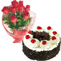 Send Rakhi with Cakes to India. 1 Kg Black Forest Cake and 12 Red Roses Bouquet in India