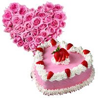 Flower Delivery in India. 24 Pink Roses Heart 1 Kg Strawberry Heart Cake to Kokata