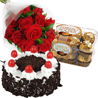 Send 12 Red Roses with 1 Kg Cake and 16 Piece Ferrero Rocher to India. Rakhi Gifts to India