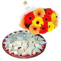 Deliver 12 Mix Gerbera with 1 Kg Kaju Barfi and Rakhi Gifts to India