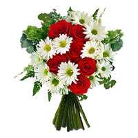Red Roses with Rakhi to India and White Gerbera Bouquet 12 Flowers