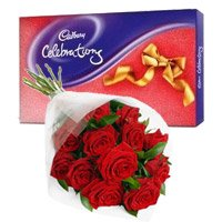 Diwali Gifts Delivery in Pune. Cadbury Celebration Pack with 12 Red Roses Bunch