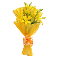 Yellow Lily Bouquet 3 Flower Stems. Flowers to India on Rakhi