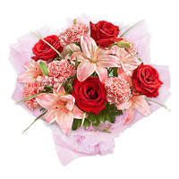 3 Pink Lily 6 Red Rose 6 Pink Carnations. Rakhi Flower Bouquet Delivery to India