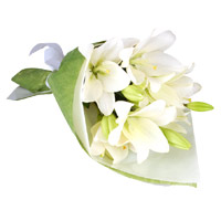 Send Rakhi with Flower to Mumbai. White Lily Bouquet 3 Stems