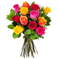 Place Order for Mixed Roses Bouquet 12 Flowers in India