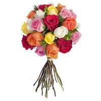 Diwali Flowers to India Same Day Delivery take in Mixed Roses Bouquet 24 Flowers
