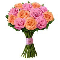 Diwali Flowers Delivery in India. Online Order for Peach Pink Rose Bouquet 12 Flowers