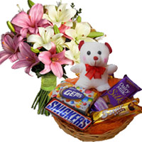 Send Diwali Gifts to Bikaner. 6 Pink White Lily, 6 Inches Teddy with Chocolate Basket