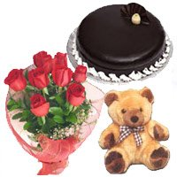 Send Flower in India. Send Bouquet of 12 Red Roses, 1 kg Chocolate Truffle Cake, 9 inch Teddy for Diwali