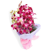 Buy Online Purple Orchid Bunch 5 Flowers Stem and Send Flowers to India on Rakhi