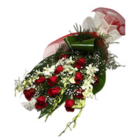 Send 6 White Orchids 12 Red Roses Flower Bouquet Delivery to India on Rakhi