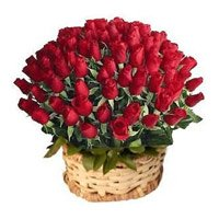 Same Day Valentines Day Flowers to Bengaluru - 100 Red Roses Basket in India