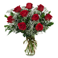 Valentine's Day Flowers Delivery in India : Red Roses in Vase to India