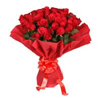 Flowers to India. Deliver Red Rose Bouquet in Crepe 50 Flowers in India
