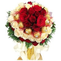 Diwali Gifts to India. Send 36 Red White Roses to India with 16 Pcs Ferrero Rocher Bouquet on Diwali
