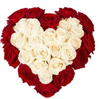 Send Christmas Gifts to Kollam. Send Red White Roses Heart 50 Flowers to Kollam