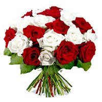 Deepavali Flowers to India. Send Red White Roses Bouquet 24 Flowers to Bhubaneswar