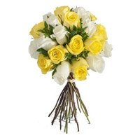 Deliver Diwali Flowers to India. Yellow White Roses Bouquet 24 Flowers to Mumbai