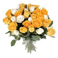 Delivery of Diwali Flowers to India. Orange White Roses Bouquet 35 Flowers in Ahmedabad