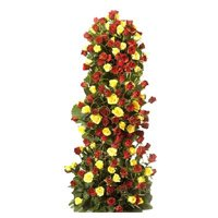 Diwali Flowers to India. Send Yellow Red Roses Tall Arrangement 100 Flowers to Hyderabad