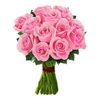 Online Flowers Delivery to Varanasi. Send Pink Roses Bouquet 12 Flowers to Varanasi