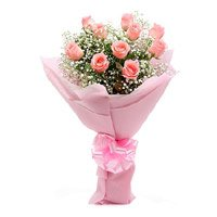 Buy Mother's Day Pink Roses Crepe 15 Flowers in India