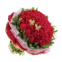 Order Online Mother's Day Flowers Red Roses Bouquet 50 Flowers to India