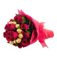 Deliver Deepawali Gifts to India. 16 pcs Ferrero Rocher 24 Red Roses Bouquet India for Mother's Day