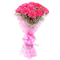 For Rakhi deliver Pink Carnation 12 Flowers Bouquet Delviery to India