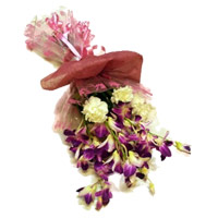 6 Orchid 6 Yellow Carnation Flower Bouquet Delivery in India on Rakhi