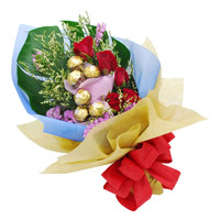 Send 6 Red Roses 10 Pcs Ferrero Rocher Bouquet to India on Rakhi. Send Rakhi Gifts to India