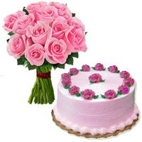 Send Online 1/2 Kg Strawberry Cake and Rakhi with 12 Pink Roses Bouquet to India